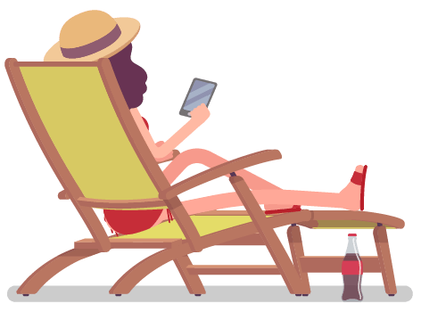 Woman relaxing in a beach chair